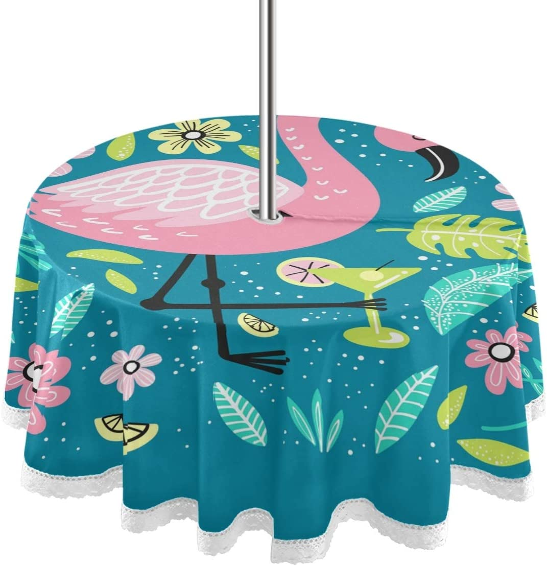 MCHIVER 60 Inch Round Tablecloth with Umbrella Hole & Zipper, Outdoor Indoor Zippered Cute Animals Flamingo Patio Table Cloths for Backyard Table/BBQ/Picnic