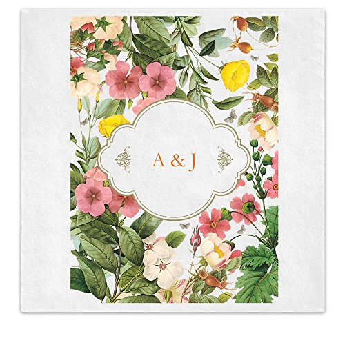 Spring Summer Wildflower Personalized Initials Luncheon Dinner Ooh La Color Napkins - 100 Custom Printed Paper Napkins