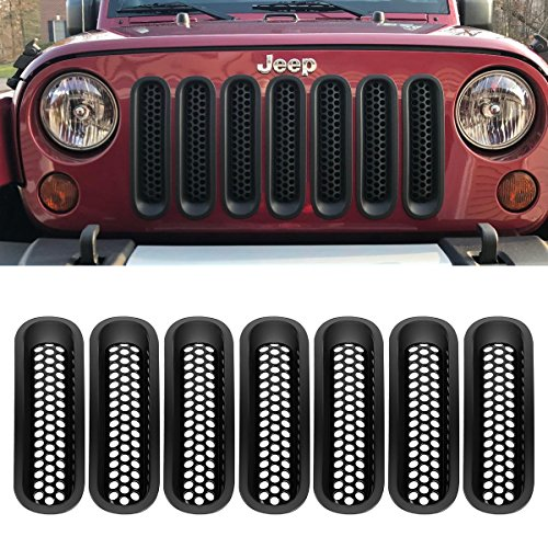 - Partsam 7PCS Black Jeep Wrangler Front Grill Mesh Grille Insert Kit Inserts Guard Replacement for Jeep Wrangler JK TJ YJ Sports Sahara Freedom Rubicon 2/4 Door 2007 - 2017