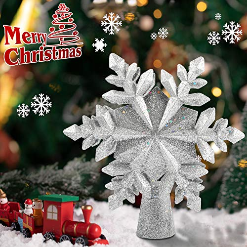 VOLADOR Christmas Tree Topper with Snowflake Projector, 10 inch 3D Snow Treetop Light Sparkling Xmas Tree Top Ornament for Christmas Holiday Party - Silver