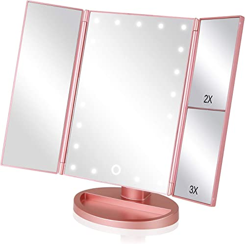 EASEHOLD Makeup Vanity Mirror with 2X 3X Magnifying Dimmable 21 LED Lighted Desk Mirror Adjustable 180 Degree Rotation Touch Screen Dual Power Supply Countertop Portable Tri-Fold Mirror