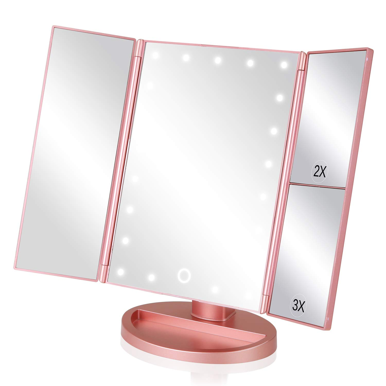 EASEHOLD Lighted Makeup Mirror Tri-Fold Dimmable 21 LED Lights Vanity 2X 3X Magnifying 180 Degree Adjustable with Touch Screen Dual Power Supply Countertop Cosmetic Mirror