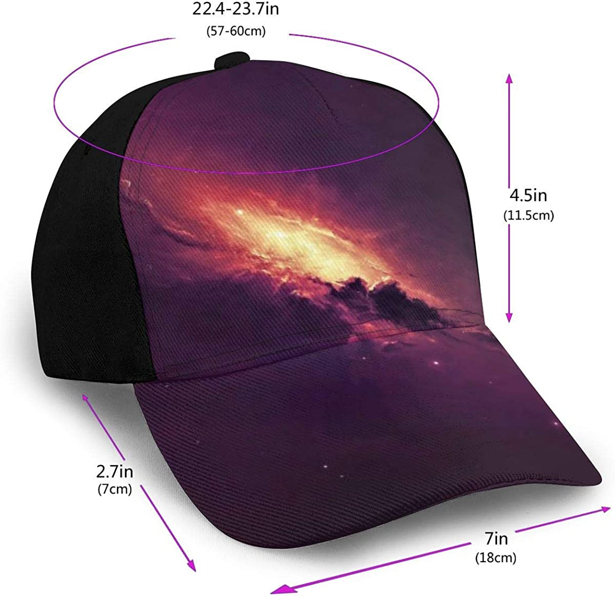 Abstract Spiral Galaxy Art Design Classic Baseball Cap Men Women Dad Hat Twill Adjustable Size Black