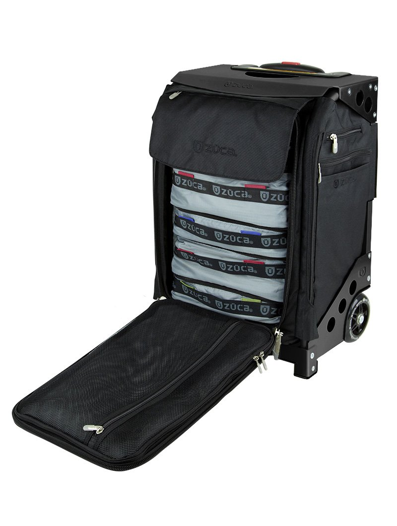Zuca Travel 20'' Carry-On Bag (Black) with Built-In Seat and 5 Stacking Packing Pouches