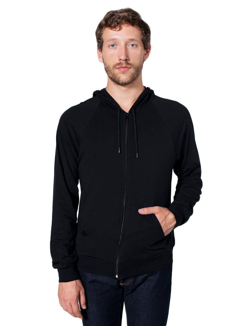 American Apparel Men Fine Jersey Zip Hoodie Size S Black by American Apparel (Image #2)