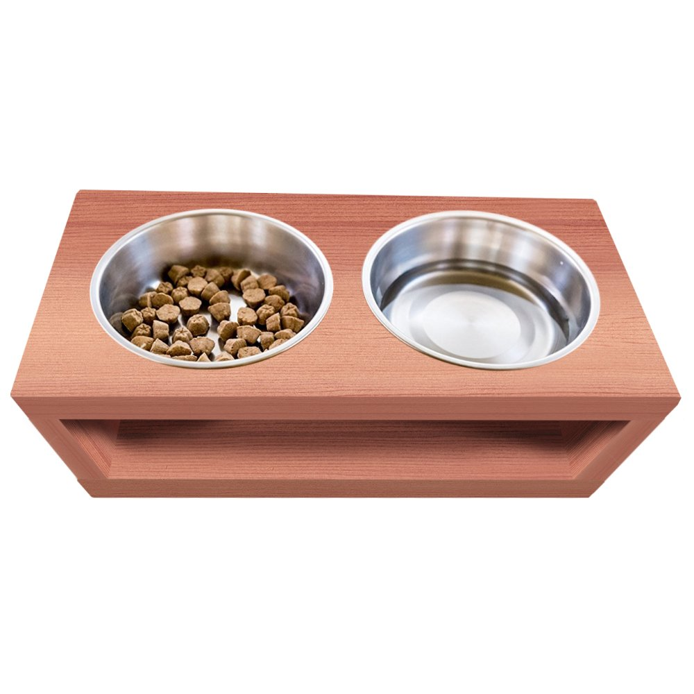 UNFINISHED Solid cedar wood Elevated Dog and Cat Pet Feeder, Double Bowl Raised Stand (3 quart), 3/4'' thick, 25'' x 12'' x 8'' Tall