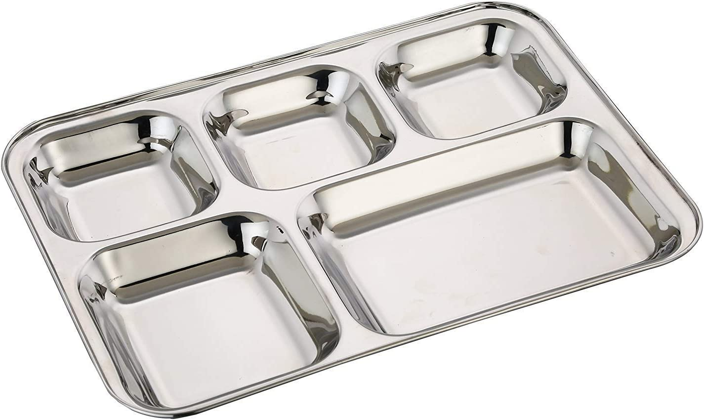 Khandekar Stainless Steel Rectangular Dinner Plate with 5 Compartment, Cafeteria Mess Tray, Food Divided Plate, Kids Lunch Plate for Toddlers, Outdoor Camping Dish - Silver, 13 inch
