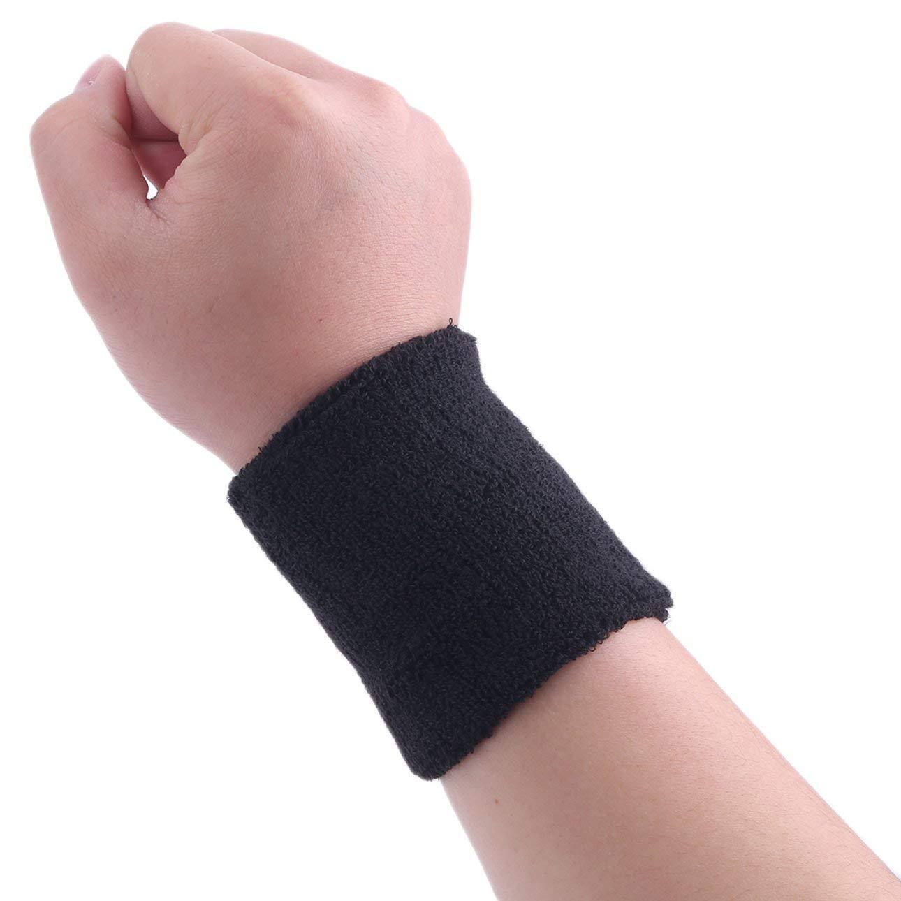 Pudincoco C/ómoda Absorci/ón de Sudor Deporte Gimnasio Mu/ñequera Algod/ón Unisex Tenis Baloncesto Alto Elastic Bracer Wrist Wrap