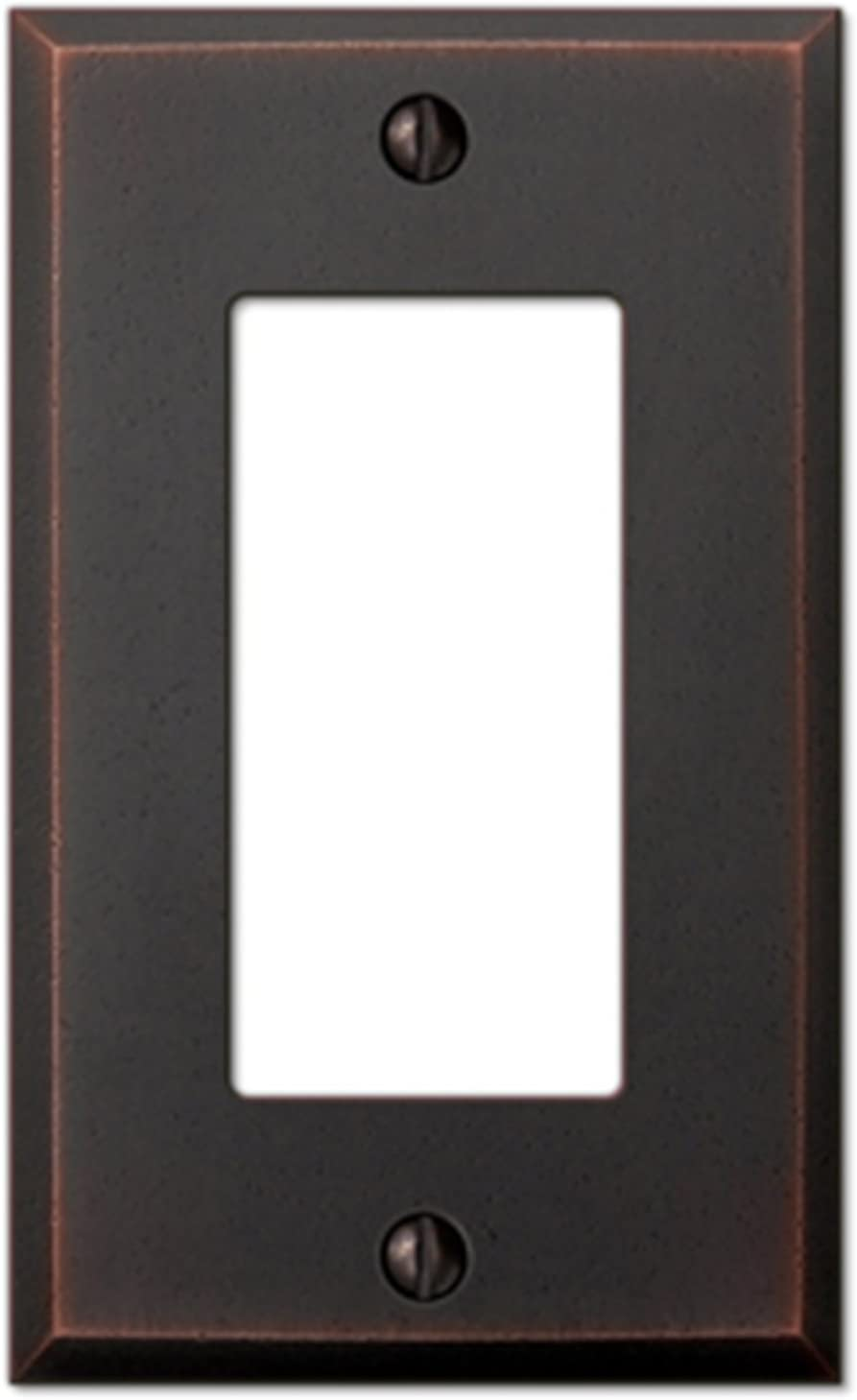 Amerelle Manhattan Single Rocker Cast Metal Wallplate in Aged Bronze