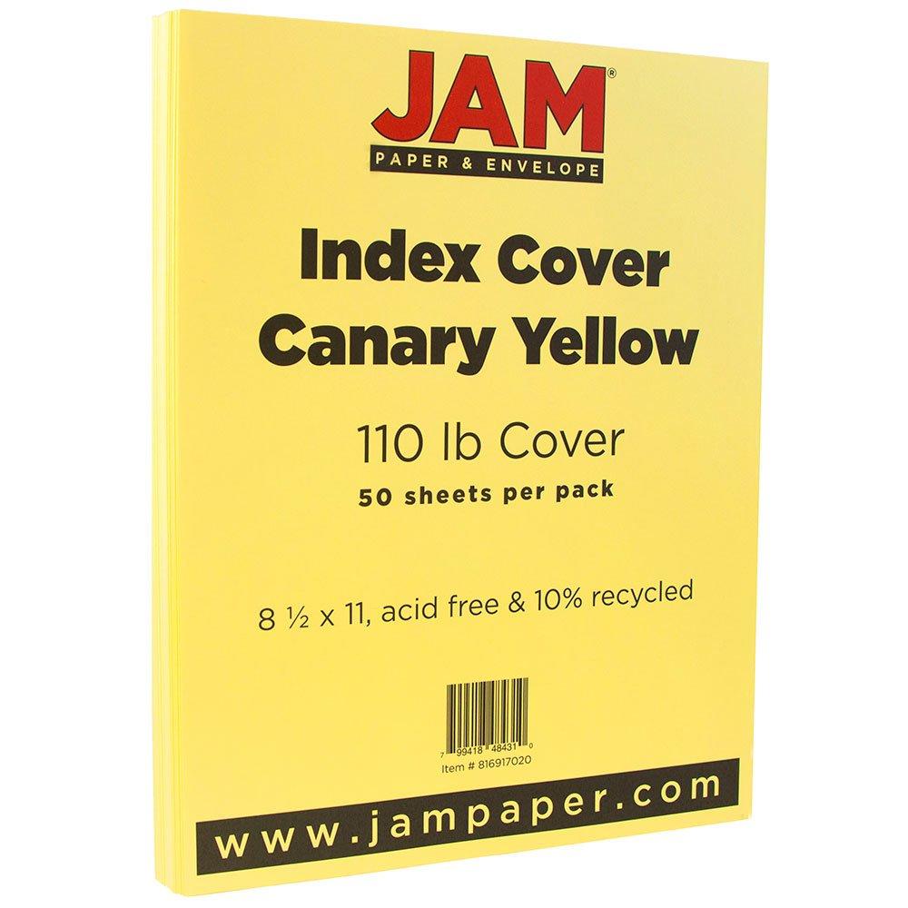 JAM Paper Vellum Bristol Index Cardstock - 8.5 x 11 - 110 lb Canary Yellow - 250/Ream