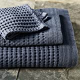 Waffle Weave Bath Towel Set with Bath Mat - Modern Design (White)