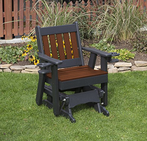 - TUDOR BROWN-POLY LUMBER MISSION Poly Resin 2 FEET Patio Garden Traditional Glider with Cupholder arms Heavy Duty EVERLASTING - MADE IN USA - AMISH CRAFTED