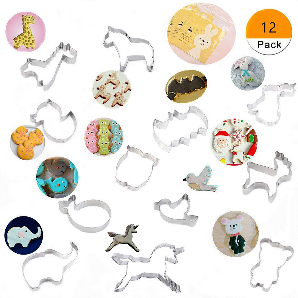 12 Piece Cute Stainless Steel Animal Cookie Molds Set For Kids GIPTIME Animal Cookie Cutters With 100-Pack Cookie Candy Bags Holiday Party Birthday