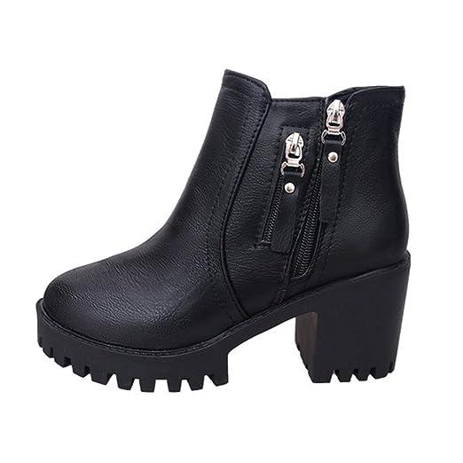eb14ba177db Women Winter Thick Chunky Heel Lug Sole Platform Combat Ankle Bootie Zipper  High-Heeled Martin Boots
