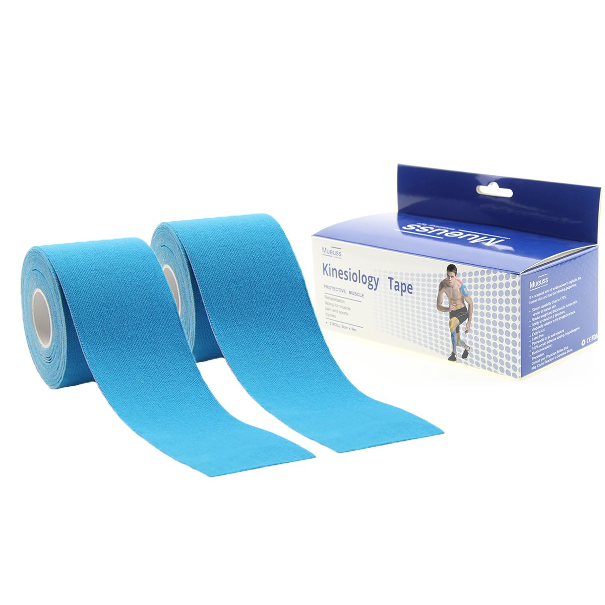MUEUSS Kinesiology Tapes Waterproof Hypoallergenic Breathable Elastic Roll Knee Ankle Muscles Elbow Shoulder Latex Free 16.5 ft Uncut (Blue (2 pc/Set))