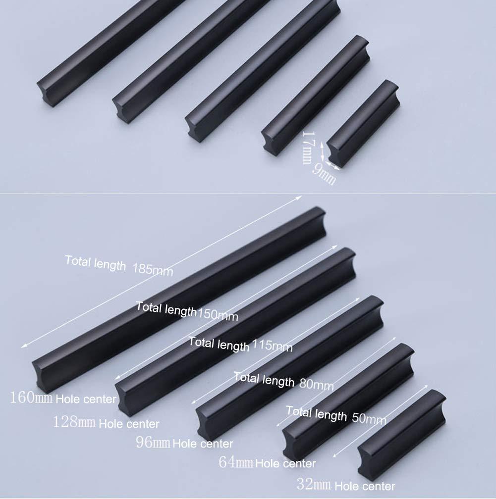 color negro Tiradores de aluminio para puertas de armario negro 10 unidades