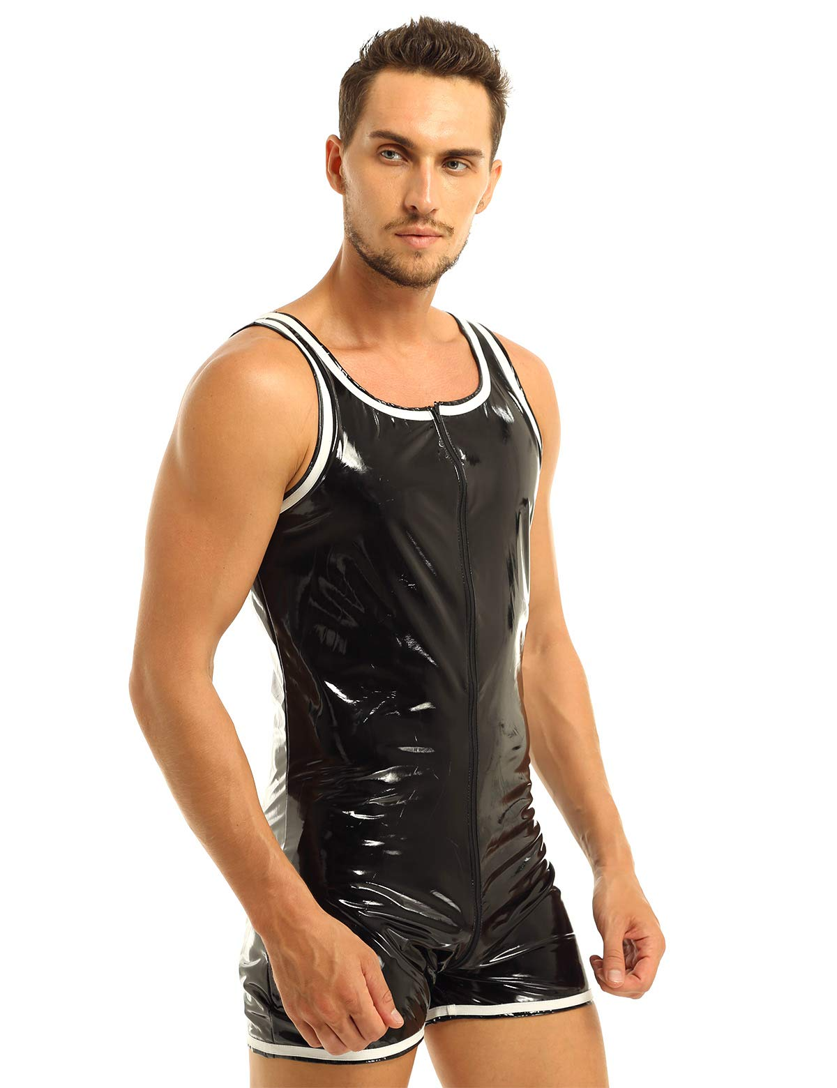 Yizyif Mens Pvc Wet Look Leather Sleeveless Bodysuit Leotard Zipper Crotch Tights Catsuit Black Large