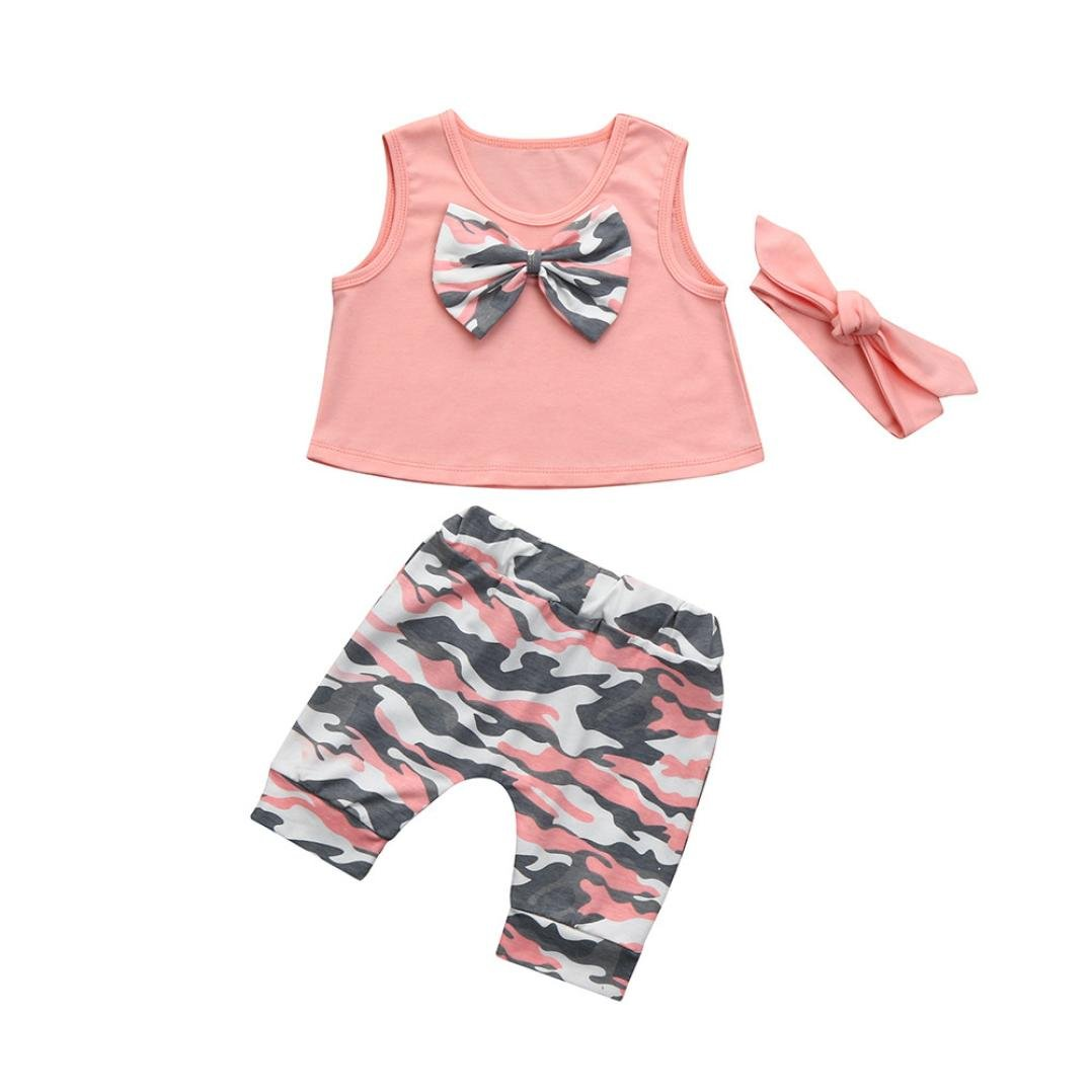 Wanshop 0-2 Years Old Girls Clothes Set, Baby Girls Camouflage Bowknot T-Shirt Tops With Shorts Pants and Headbands Outfits Set