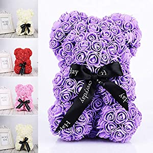 Auntwhale The Rose Teddy Bear Artificial Forever Rose, Anniversary Christmas Valentines Gift, Suitable for Lover Girlfriend Lovely Cartoon Gift 83
