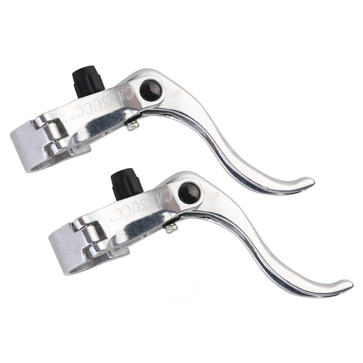 ULTNICE Palanca de freno de bicicleta Manecilla de freno de engranaje fijo Ajuste 22.2mm / 24mm (Plata)