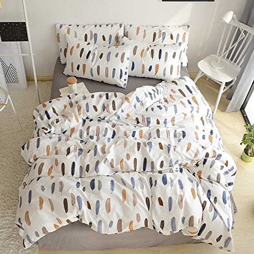 HIGHBUY Feather Printed Pattern Twin Duvet Cover Sets Premium very soft Cotton 3 Piece undoable Bedding series Sets For Kids Boys Girls Hidden Zipper Closure Teens Bedding Sets Twin