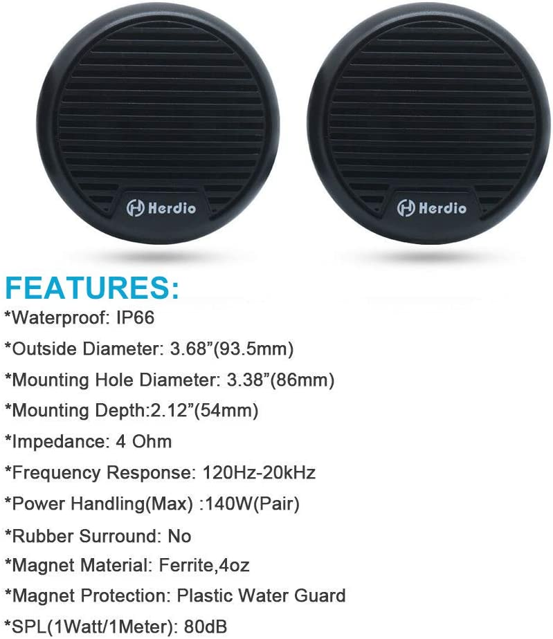Herdio 3 Zoll 12v Marine Boot Bluetooth Stereo Lautsprecher Motorrad Lautsprecher Digital Media Mp3 Motorrad Audio Entertainment System Rund Unterputz Mit Max Leistung 140 Watt 1 Paar Schwarz Audio Hifi