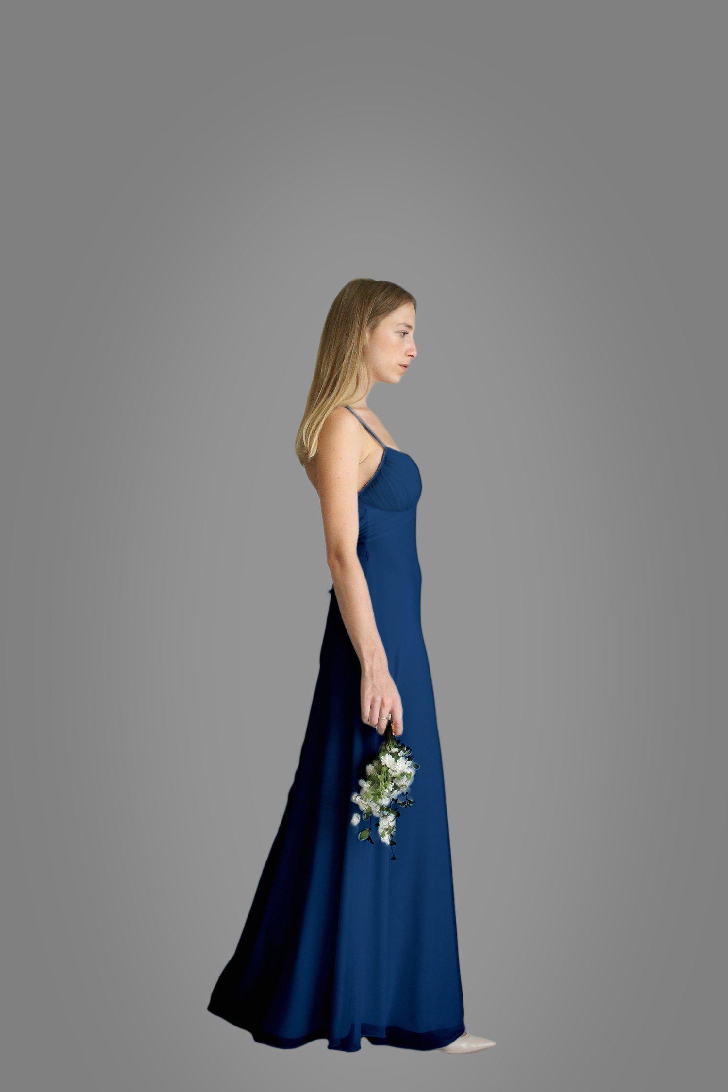 Women's Dress, Navy Blue Bridesmaid Evening Dress, Size S, Maxi Long Dress for Wedding, Chiffon Lycra Classic Gown
