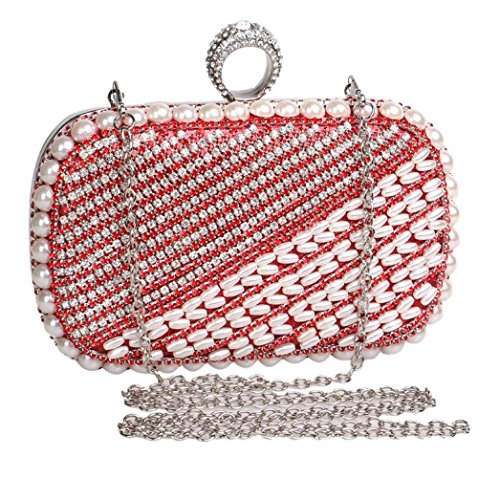 Clutch Beaded Gift Handbag For Evening Clubs Pearl Prom Glitter Purse Bridal Ladies Wedding Bag Red Shoulder Women Bag Diamante Party SdqYRwR