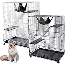 "51""x35""x22"" Large Cat Pets Wire Cage 2 Door Playpen + Free Hammock Brand New Home Crate(Black Vein)"