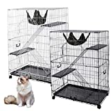 Yescom 51''x36''x22'' Large Cat Pets Wire Cage 2 Door Playpen w/ Hammock 2 Ramp Ladders (Black Vein)