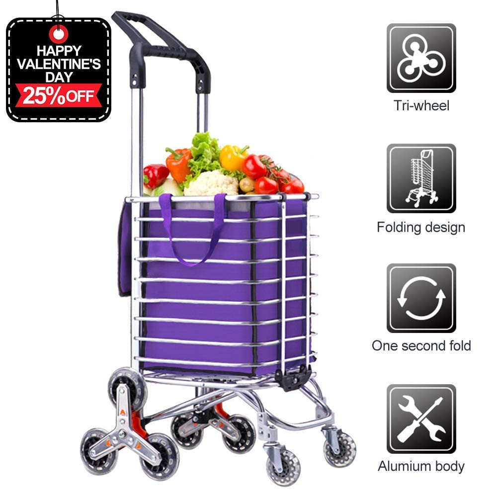 AmnoAmno Folding Shopping Cart-Stair Climbing Cart- Transit Utility Cart-Durable Folding Design for Easy Storage