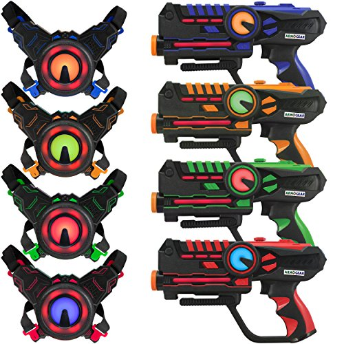 Gun Sniper Set - Infrared Laser Tag Guns and Vests - Laser Battle Mega Pack Set of 4 - Infrared 0.9mW