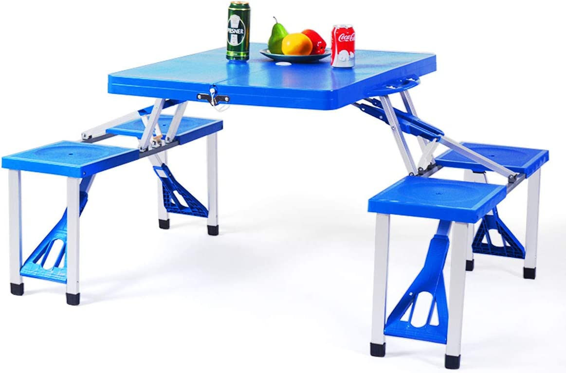 - Amazon.com: Giantex Portable Folding Picnic Table With Seating For