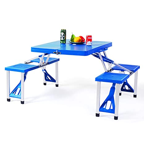 Fabulous Giantex Portable Folding Picnic Table With Seating For 4 Garden Party Camping Time Design Blue Unemploymentrelief Wooden Chair Designs For Living Room Unemploymentrelieforg