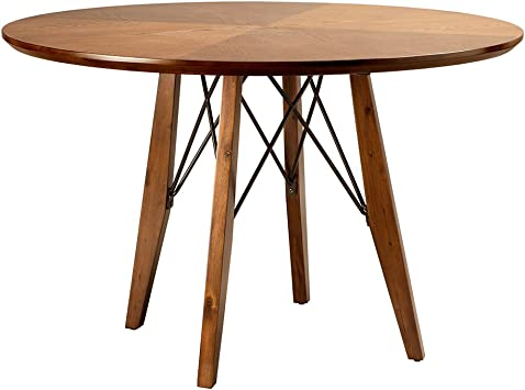 Ink+Ivy Clark Dining Table Height Adjustable to Counter-Height, Round Solid  Wood Sits 4 Mid-Century Modern Kitchen, Pub Style, Breakfast Nook ...