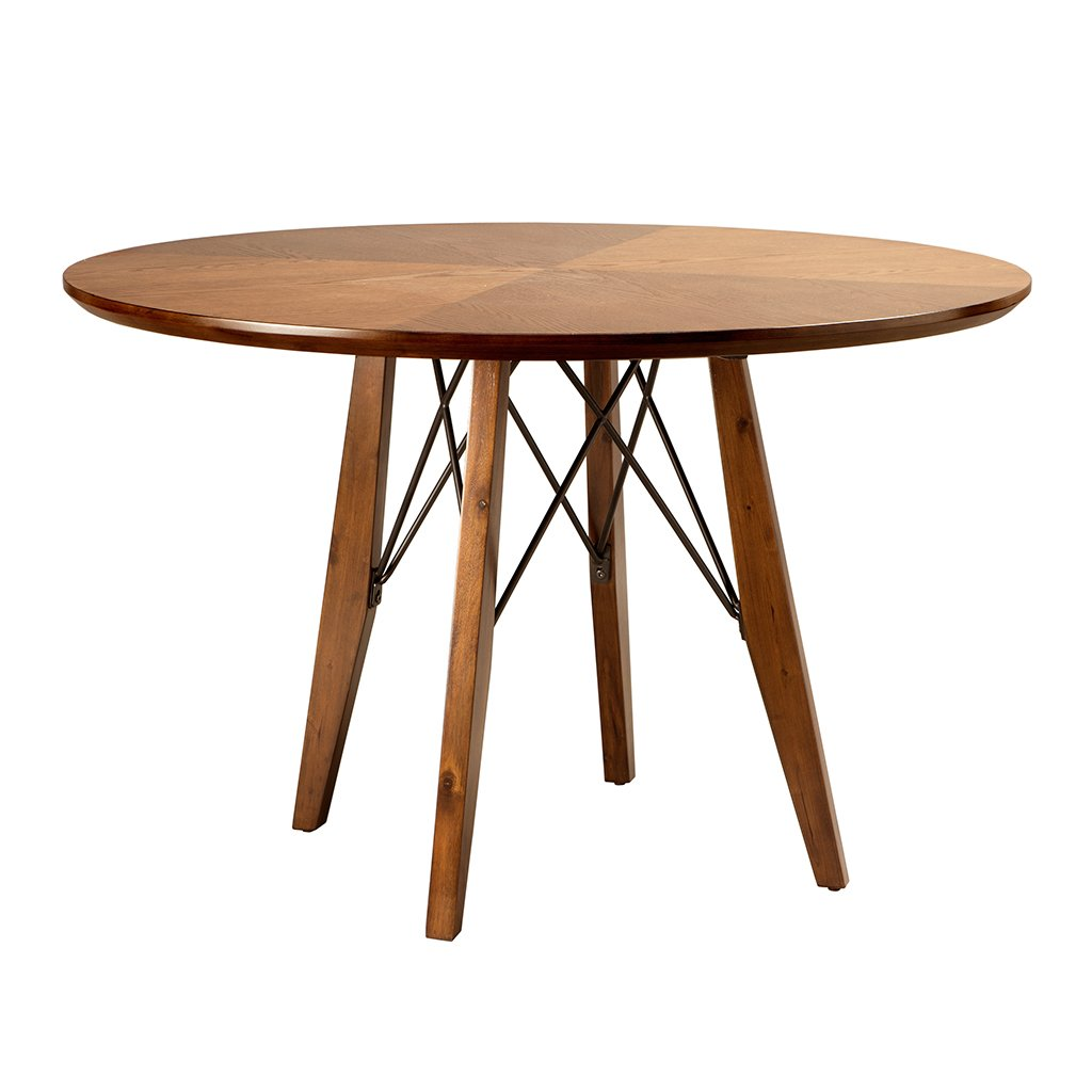 Ink+Ivy IIF20-0028 Clark Dining Table Height Adjustable to Counter-Height, Round Solid Wood Sits 4 Mid-Century Modern Kitchen, Pub Style, Breakfast Nook Furniture, Pecan