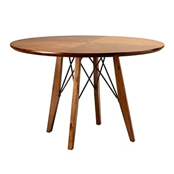 Mid Century Modern 45 Inch Round Wood Adjustable Height Dining Table With  Metal Stretchers   Includes