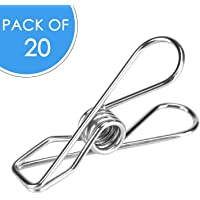 DIRECT FROM FACTORY Stainless Steel Pegs (Pack of 20) – 5.5x1.3x2.5 cm, Metal Hanging Clips for Clothes, Towels, Socks, Pictures, Paper – Heavy Duty, Windproof, Multipurpose Wire Pins for Laundry