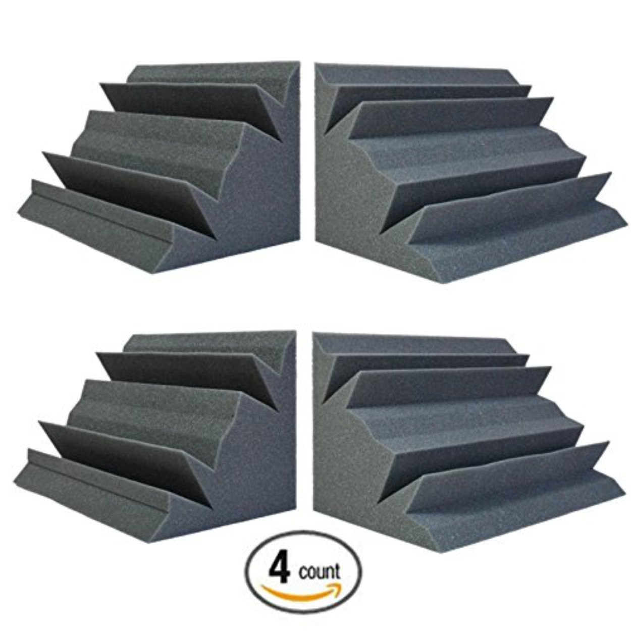 Acoustic Foam Bass Trap Studio Corner Wall 12'' X 7'' X 7'' (4 PACK) by Foamily