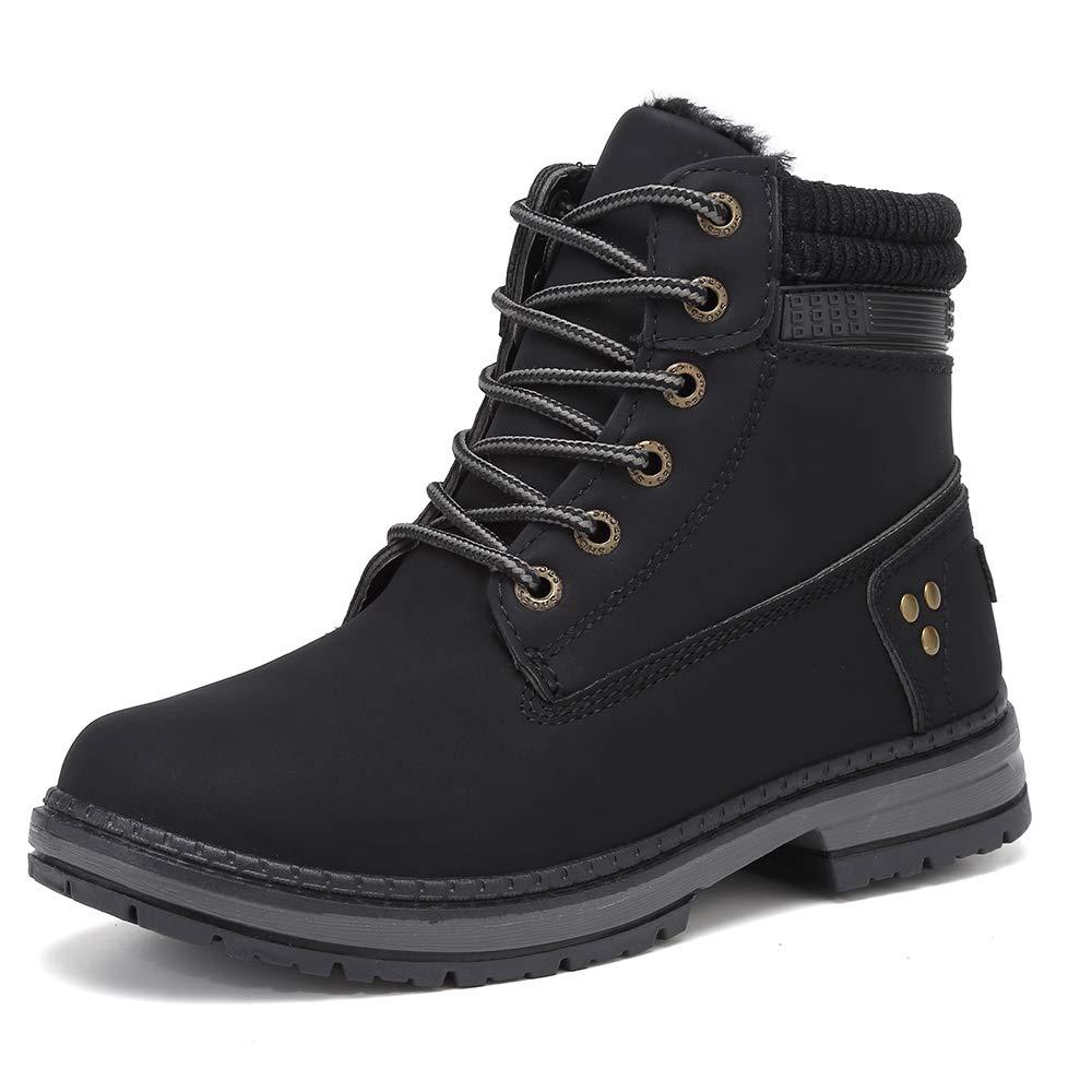 KARKEIN Ankle Boots for Women Low Heel Work Combat Boots Waterproof Winter Snow Boots by KARKEIN