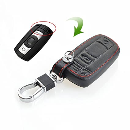 amazon com justmos leather key case cover for bmw keyring key chain