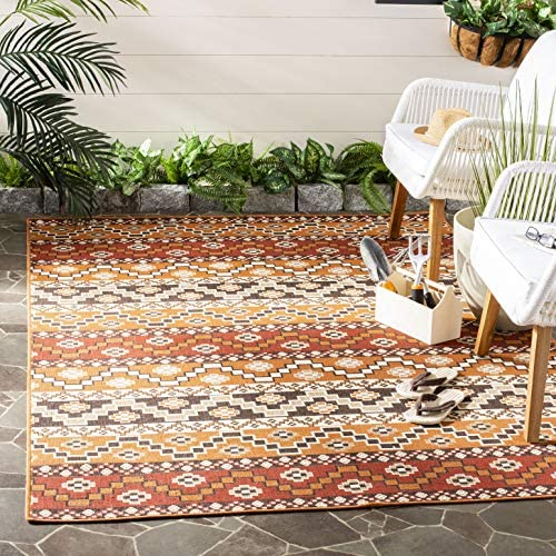 Safavieh Veranda Collection VER095-0332 Red and Chocolate 8 x 10 Area Rug