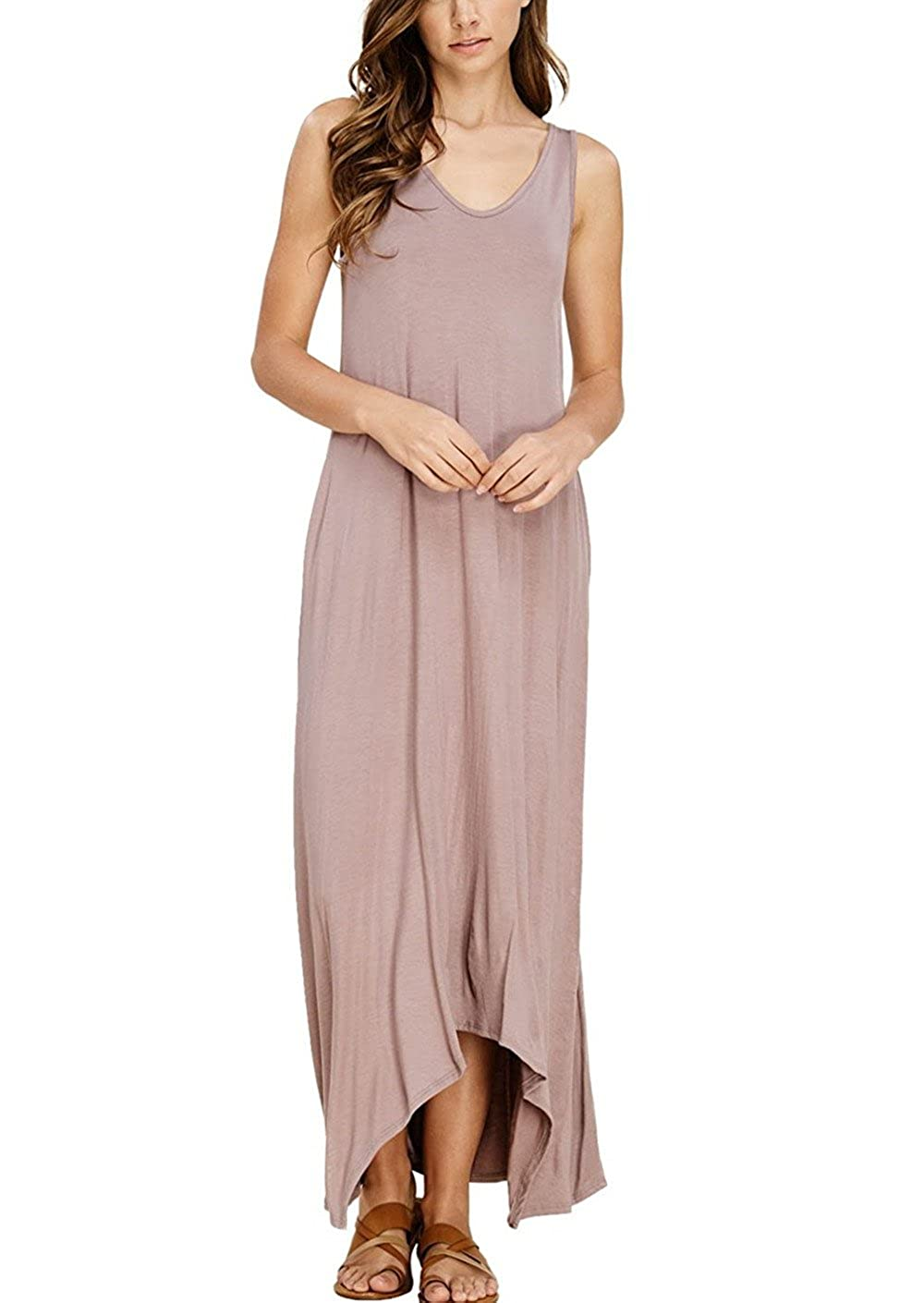 bluesh Pink TOPABLE Womens Summer Soft Fabric V Neck Sleeveless Long Maxi Dress with Side Pockets