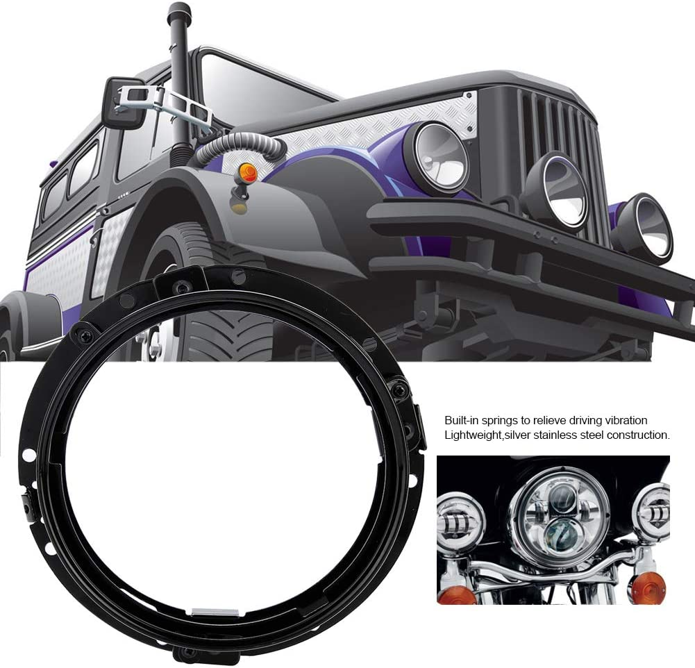 Black 7inch Headlight Mounting Bracket Car Round Ring Headlight Mount Black