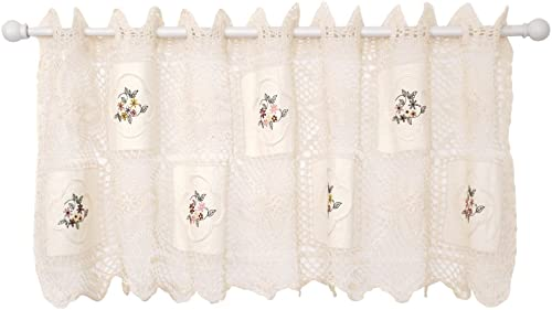 Today s Curtain Cottage Applique Crochet Embroidered Valance, 15-Inch, Ecru