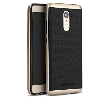 wholesale dealer 623e0 92fe9 iPaky Ntron Ultra-Thin Dotted Silicon Back and PC Gold Frame Bumper Case  Cover for Xiaomi Redmi Note 3