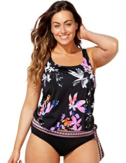 c415700f2e8 Swimsuits for All Women s Plus Size Teal Tropical Blouson Tankini ...