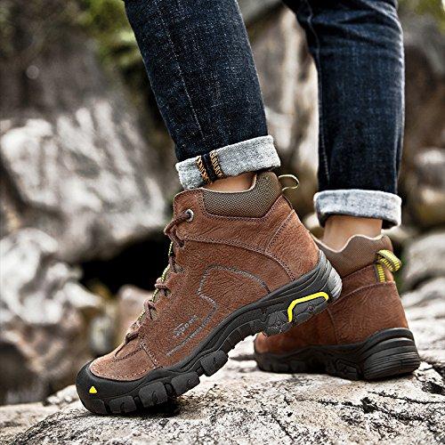 Impermeables Casuales Altas Brown Al Trekking Deporte Zapatillas Hombre Botas De Aire Cuero Libre Zapatos Para axA708q6