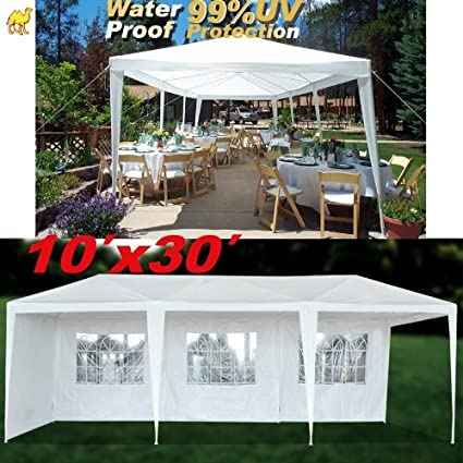 best service cf187 7eea1 STRONG CAMEL Wedding Party Tent 10x30 White Gazebo Canopy BBQ Easy Set  Pavilion Cater Events