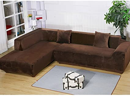 Getmorebeauty L Shape Sectional Thick Plush Velvet Couch Stretch Sofa Cover  Sofa Slipcovers (Coffee